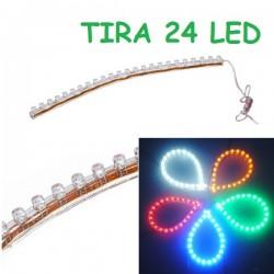 TIRA 24 LED FLEXIBLE RESISTENTE AL AGUA COCHE MOTO 12V MALETERO