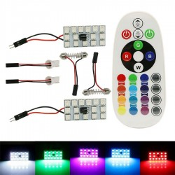 PACK 2 PANEL T10 FESTOON C3W C5W C7W LED RGB COLOR AJUSTABLE CON MANDO