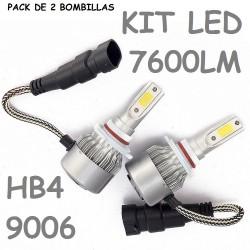 KIT BOMBILLA HB4 9006 LED 7600 LUMENES 12V 24V COCHE MOTO FURGONETA CAMION
