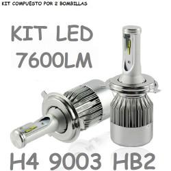 KIT LUZ LED H4 9003 HB2 7600 LUMEN 12V 24V COCHE MOTO FURGONETA CAMION