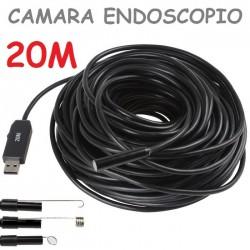 ENDOSCOPIO CAMARA BOROSCOPIO 20M 9MM CON LUZ USB FONTANERO TUBOS
