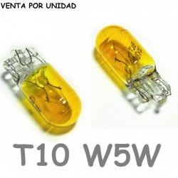Bombilla T10 W5W W3W Halógena Amarilla 3000K de Cuña Coche Moto 12V