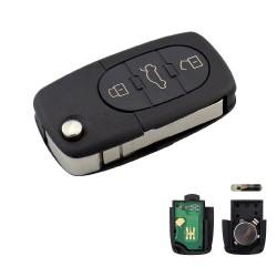 Llave con mando Audi Recambio 3 Botones Con Electrónica y Chip Tipo F