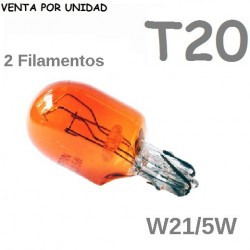 Bombilla T20 Halógena de Filamento Coche 580 7443 W21/5W Ambar Naranja