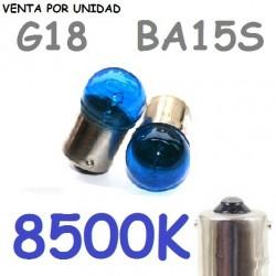 Bombilla G18 S25 BA15s R5W 1156 12V5W Coche Azul 8500k
