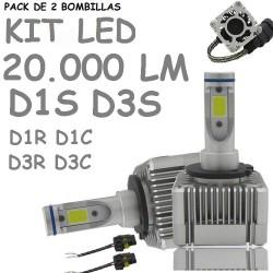 Kit Bombilla D1S y D3S Led 20000 Lúmenes 12V 24V Coche Furgoneta Camión