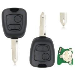 Llave con mando Citroen Peugeot Recambio 2 Botones Con Electrónica y Chip Tipo S