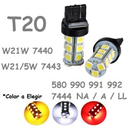 Bombilla Led T20 W21W W21/5W 7443 7440 580 18 Leds Coche