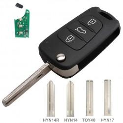 Llave con mando Hyundai Kia Recambio 3 Botones Electrónica Chip Tipo U