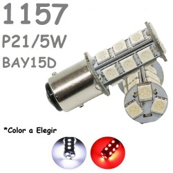 Bombilla Led S25 BAY15D P21/5W 1157 18 Led Blanca Roja Coche