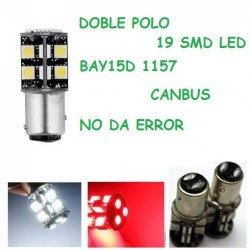 BOMBILLA LED CANBUS POSICION Y FRENO 2 POLOS COCHE MOTO BAY15D P21/5W 1157 19 SMD LED 5050 NO ERROR