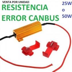 RESISTENCIA LED CANBUS NO ERROR 25 O 50w 6 oHm COCHE MOTO FURGONETA